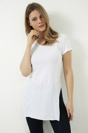 Vis a Vis Kadın Beyaz V Yaka Yırtmaçlı Uzun Tshirt 2