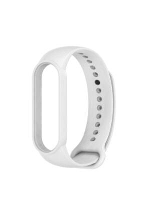 Pars Online Xiaomi Mi Band 5/6 Akıllı Bileklik Kordon Kayış Antialerjik Silikon Beyaz 1