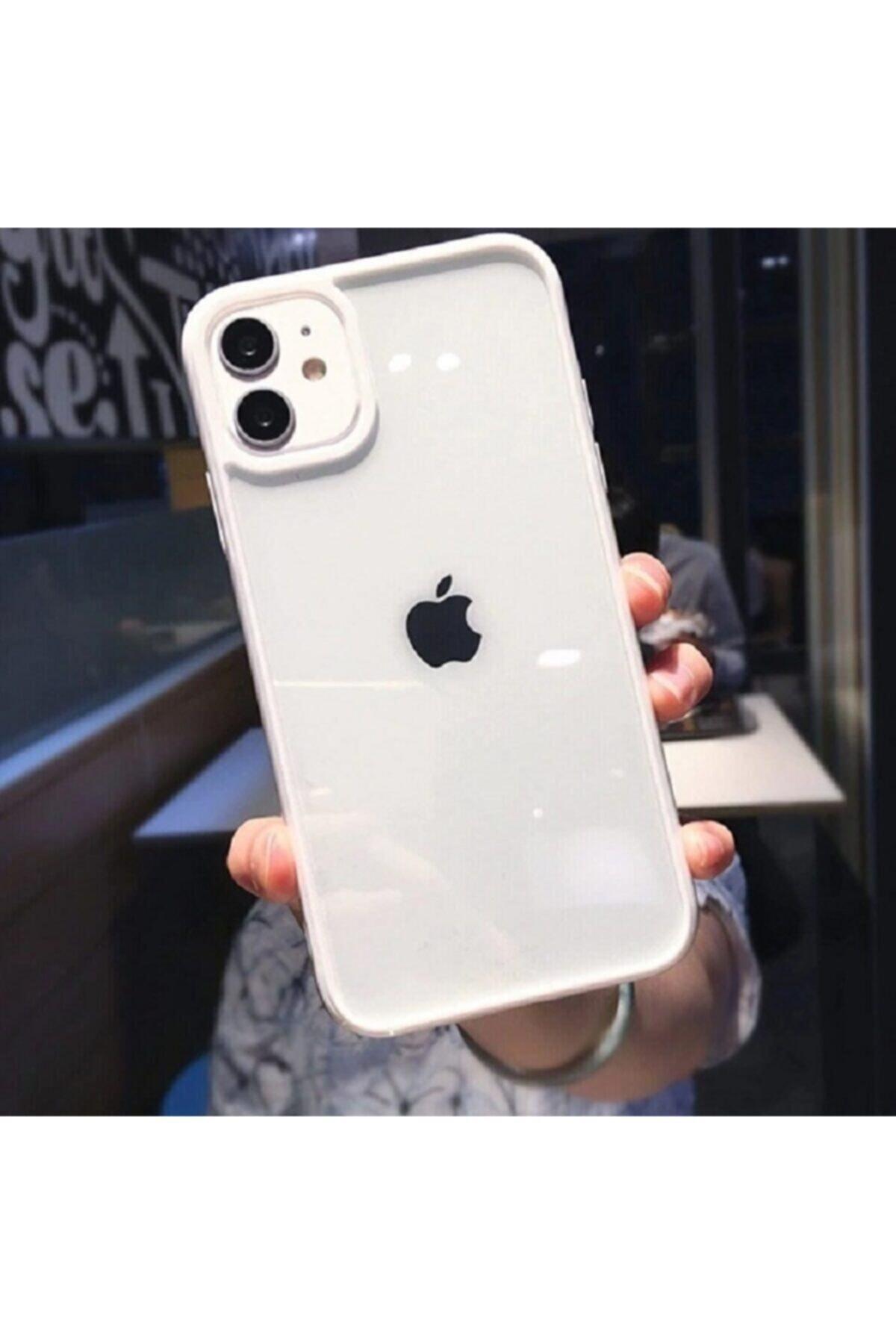 Apple Iphone 11 Uyumlu Kenarı Beyaz Renkli Darbe Önleyici Şeffaf Silikon Kılıf