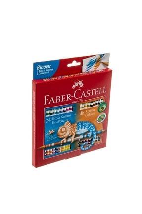 Faber Castell Faber Bicolor 24x2 Renk Uzun Kuru Boya Kalemi 120624 0