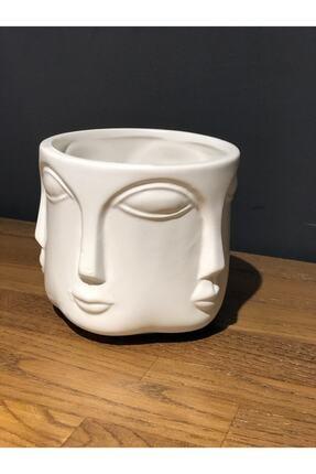 LAMEDORE Havelka Buddha Suratlı Beyaz Dekoratif Büyük Boy Vazo 0