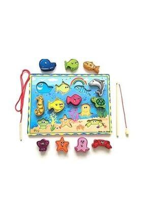 Wooden Toys Ahşap Balık Tutma Oyunu Ipe Dizme Bul Tak Eğitici Oyun 0