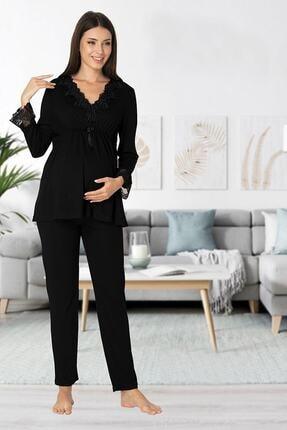 Effort Pijama Zerre Bebe Kadın Siyah 8092 Hamile Lohusa Pijama Takım 0