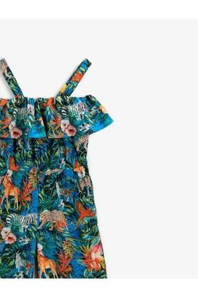 Koton Kız Çocuk Çiçekli Figürlü Tulum 2