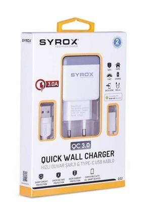 Syrox Huwai Hızlı Sarj Cihazı Seti Type-c Hızlı Ev Şarj Aleti 3.0a (Q32 BEYAZ) 1