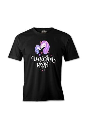 Lord T-Shirt Unises Siyah Unicorn Anneler Günü Baskılı T-shirt 0
