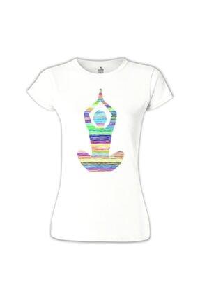Lord T-Shirt Kadın Beyaz Yoga Lines Tshirt 0