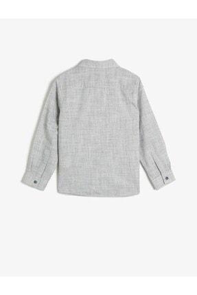 Koton Erkek Çocuk Gri Kırçıllı Kumaştan Uzun Kollu Klasik Yaka Gömlek 1