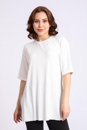 GİYSA Kadın Boyfriend Kaşkorse Ekru Tshirt 3683 0