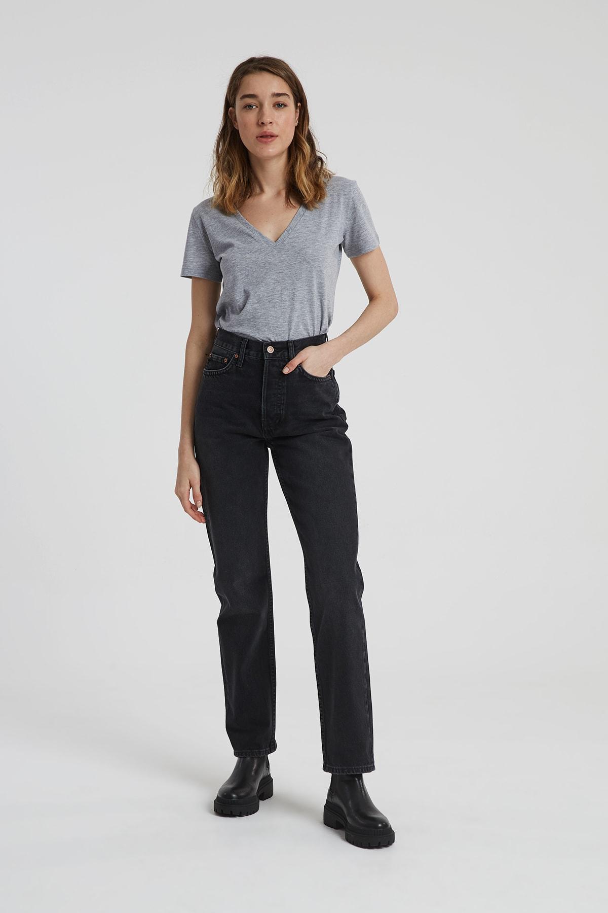Dıana Siyah Renk Yüksel Bel Dad Straight Fit Pantolon C 4517-007