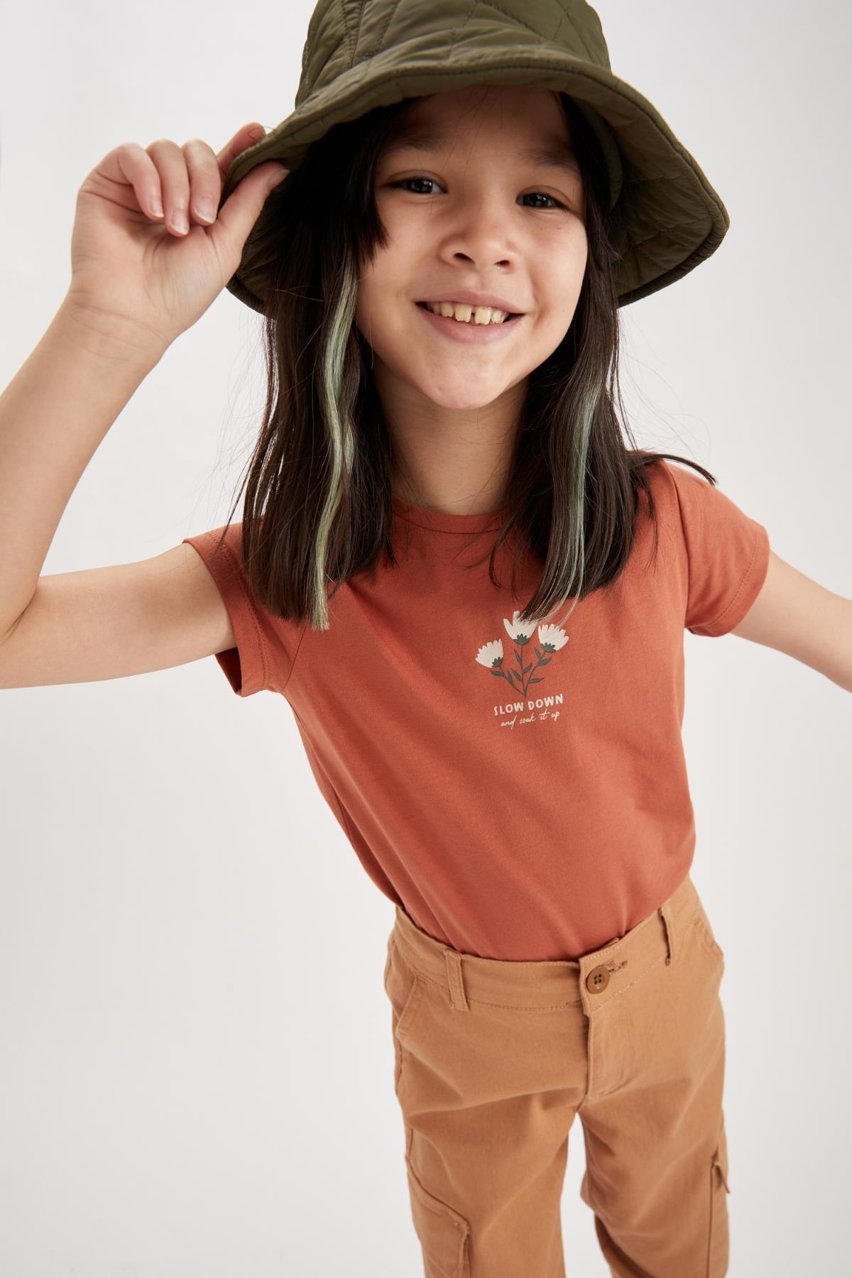 Kız Çocuk Çicek Baskılı Kısa Kollu Tişört T6911A621SP
