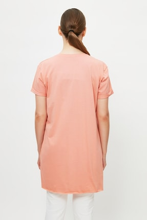 Trendyol Modest Somon Baskılı Tunik T-shirt TCTSS21TN0056 4