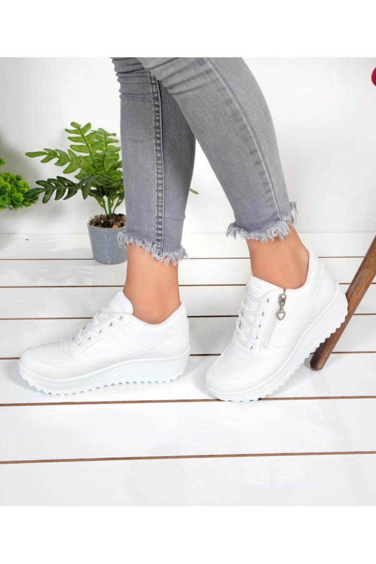 Kadın Beyaz Cilt Fermuarlı Spor Ayakkabı Ba21048