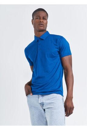 Erkek Petrol Polo Yaka Basic Battal Tişört resmi