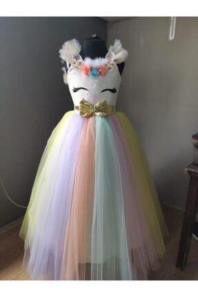 Mashotrend Tarlatanlı Renkli Unicorn Çocuk Kostümü - Unicorn Kız Çocuk Kostümü - Unicorn Kostümü 2