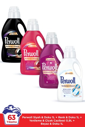 Perwoll Hassas Bakım Sıvı Çamaşır Deterjanı 4 x 1L (63 Yıkama) Siyahlar +Renkliler +Beyazlar+Çiçek Cazibesi 0