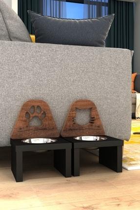 Kanguru Shopping Minnoş Kedi & Minnoş Pati Kedi & Köpek Ahşap Mama Ile Su Kabı Paslanmaz Çelik 3