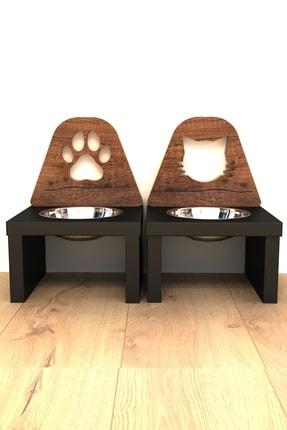 Kanguru Shopping Minnoş Kedi & Minnoş Pati Kedi & Köpek Ahşap Mama Ile Su Kabı Paslanmaz Çelik 4