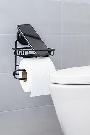 vipgross Mat Siyah Vakumlu Yedekli Tuvalet Kağıtlık Vs714 0