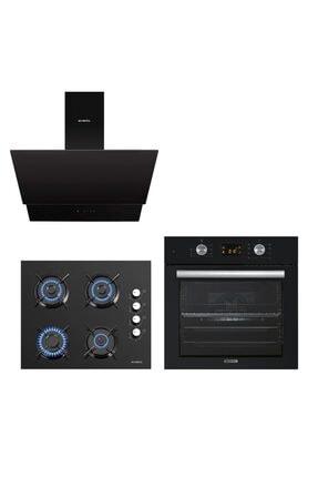 KUMTEL Siyah Cam Digital / Dokunmatik Ankastre Set - 8 Prog 0