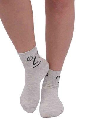 Kadın Açık Gri Fashion Emoji Desenli Soket Çorap 11400 resmi