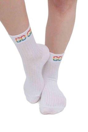 Kadın Beyaz Yazı Desenli Soket Çorap resmi