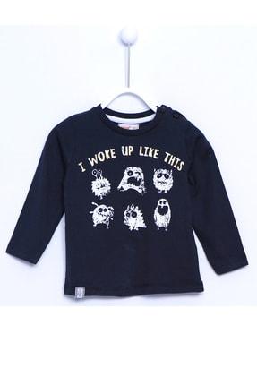 تصویر از Bebek Siyah Renkli Baskılı Omuzdan Düğme Kapmalı Örme Uzun Kollu T-shirt