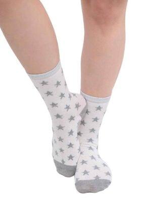 Kadın Beyaz Yıldız Baskılı Çorap 36-40 resmi