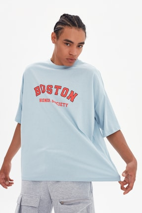 TRENDYOL MAN Mavi Erkek Oversize Bisiklet Yaka Kısa Kollu Baskılı T-Shirt TMNSS21TS1217 2