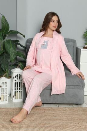BOYRAZ Kadın Pembe Hamile Lohusa Sabahlıklı Pijama Takımı 3'lü 4