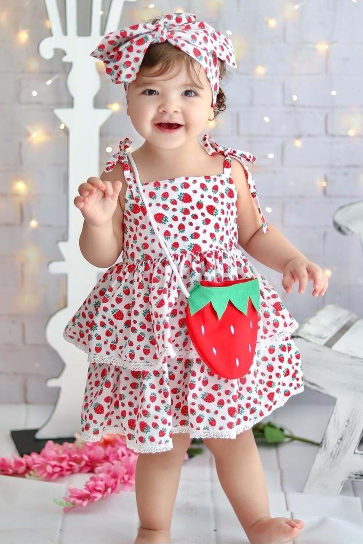 Kız Çoçuk Kırmızı Çilek Desenli Çantalı Elbise