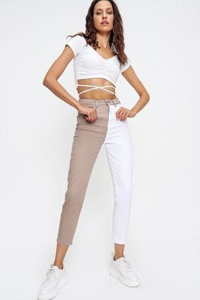 Trend Alaçatı Stili Kadın Bej Renk Bloklu Yüksek Bel Jean ALC-X6437 0