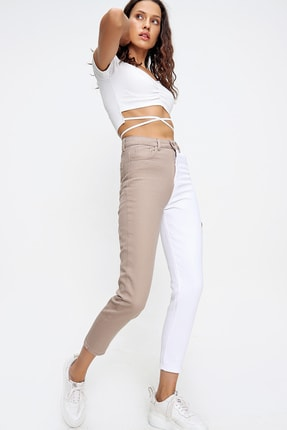 Trend Alaçatı Stili Kadın Bej Renk Bloklu Yüksek Bel Jean ALC-X6437 2