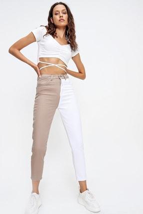 Trend Alaçatı Stili Kadın Bej Renk Bloklu Yüksek Bel Jean ALC-X6437 4