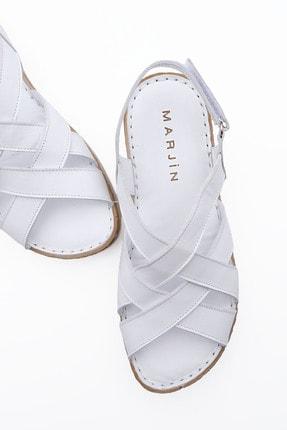 Marjin Kadın Beyaz Düz Topuklu Sandalet 2