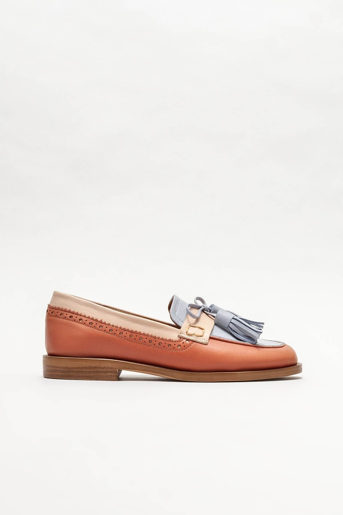Kadın Mavi Deri Loafer Ayakkabı
