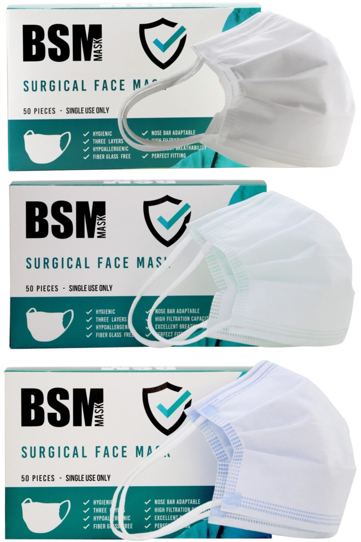 3 Katlı Yassı Lastikli Full Ultrasonik Meltblown Cerrahi Maske Toplam 50 Adet