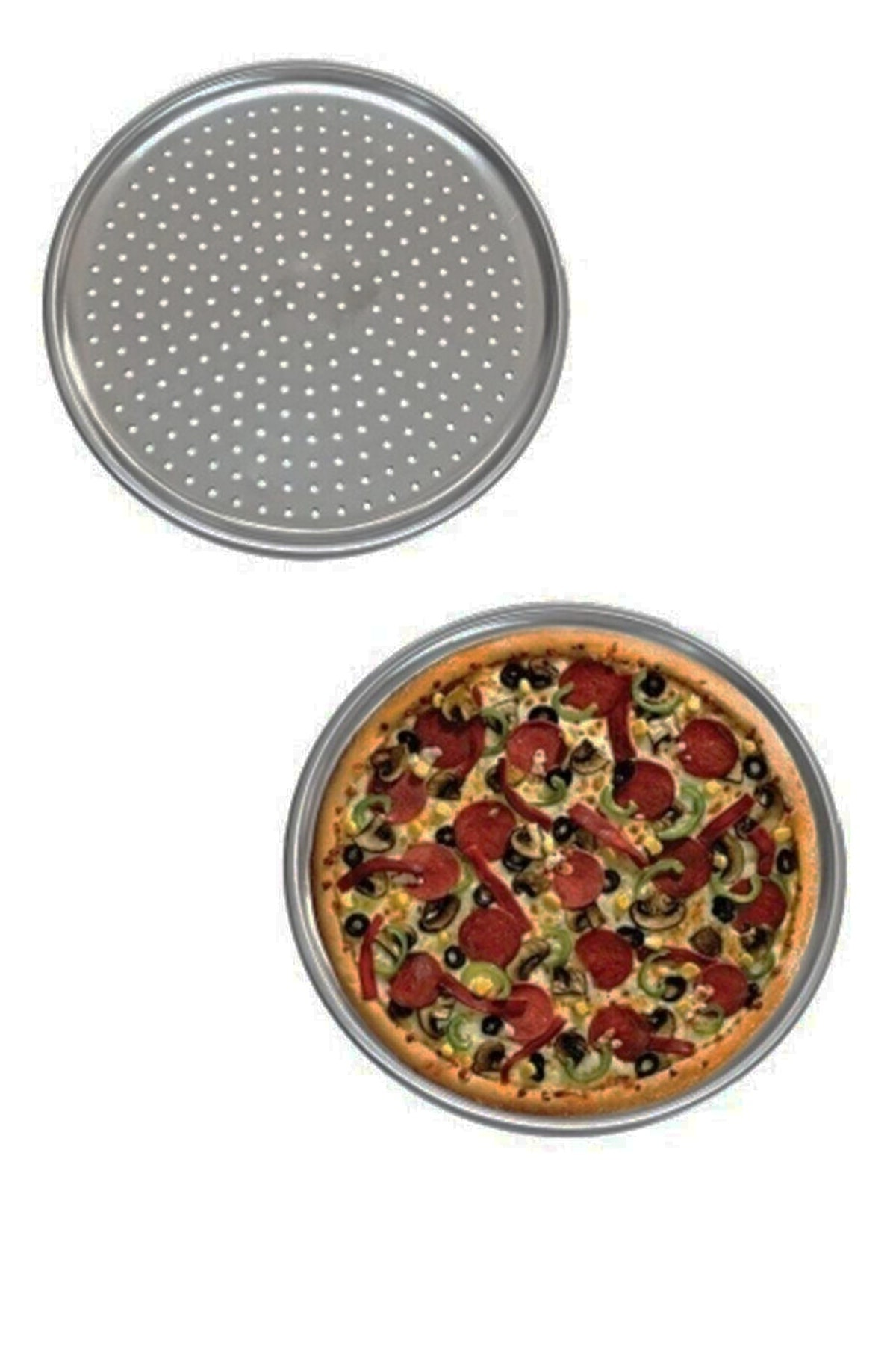 Delikli Pizza Tepsisi Lahmacun Pide Tepsisi 32cm 2 Adet