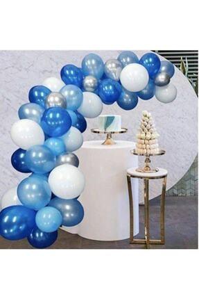 MERİ PARTİ Balon Parti 100 Adet Beyaz Mavi Gri Lacivert Metalik Balon Ve Balon Zinciri 0
