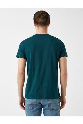 Koton Erkek Yeşil Yazı Baskılı Pamuklu Kısa Kollu Bisiklet Yaka T-Shirt 3