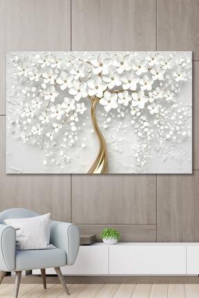 ECELUXE Dekoratif Beyaz Gelincik Duvar Kanvas Tablo 70x100 0