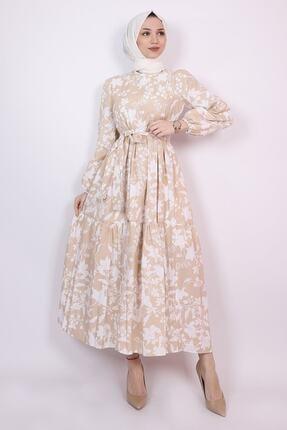 ENDERON Beyaz Çiçekli Kloş Tesettür Mevsimlik Elbise 2