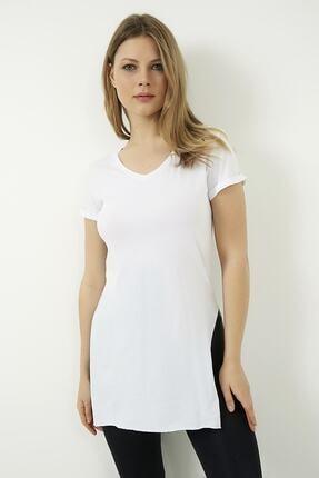 Vis a Vis Kadın Beyaz V Yaka Yırtmaçlı Uzun Tshirt 3