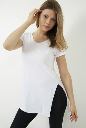 Vis a Vis Kadın Beyaz V Yaka Yırtmaçlı Uzun Tshirt 4