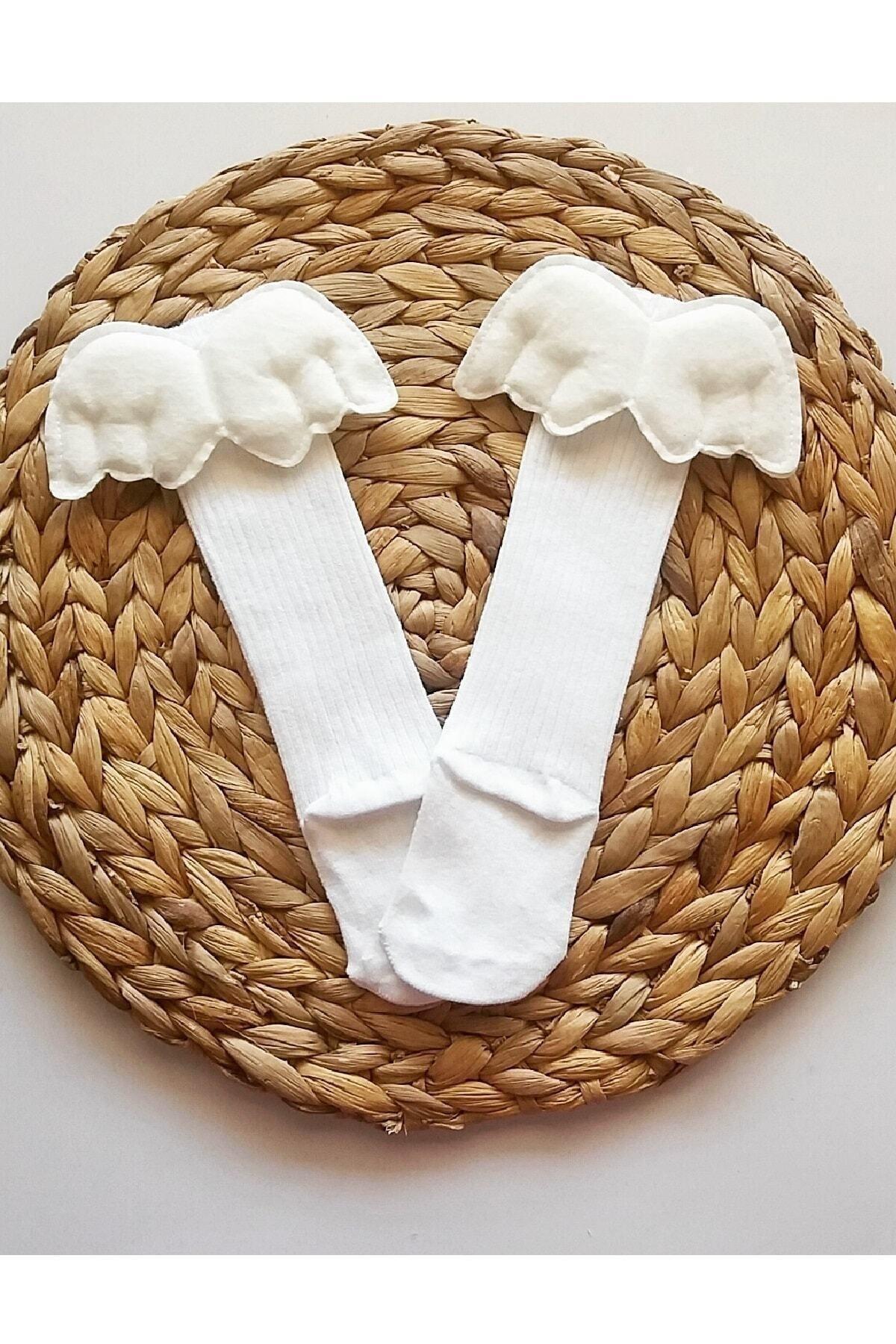 Kız Bebek Beyaz Diz Altı Çorap