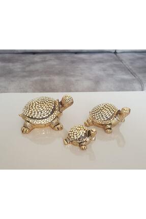 Modafeneri 3lü Gold Taşlı Kaplumbağa Biblo 0