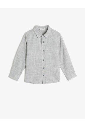 Koton Erkek Çocuk Gri Kırçıllı Kumaştan Uzun Kollu Klasik Yaka Gömlek 0