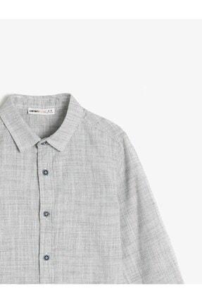 Koton Erkek Çocuk Gri Kırçıllı Kumaştan Uzun Kollu Klasik Yaka Gömlek 2