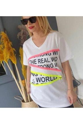Kadın Beyaz Büyük Beden Tişört VMCFCAAF1