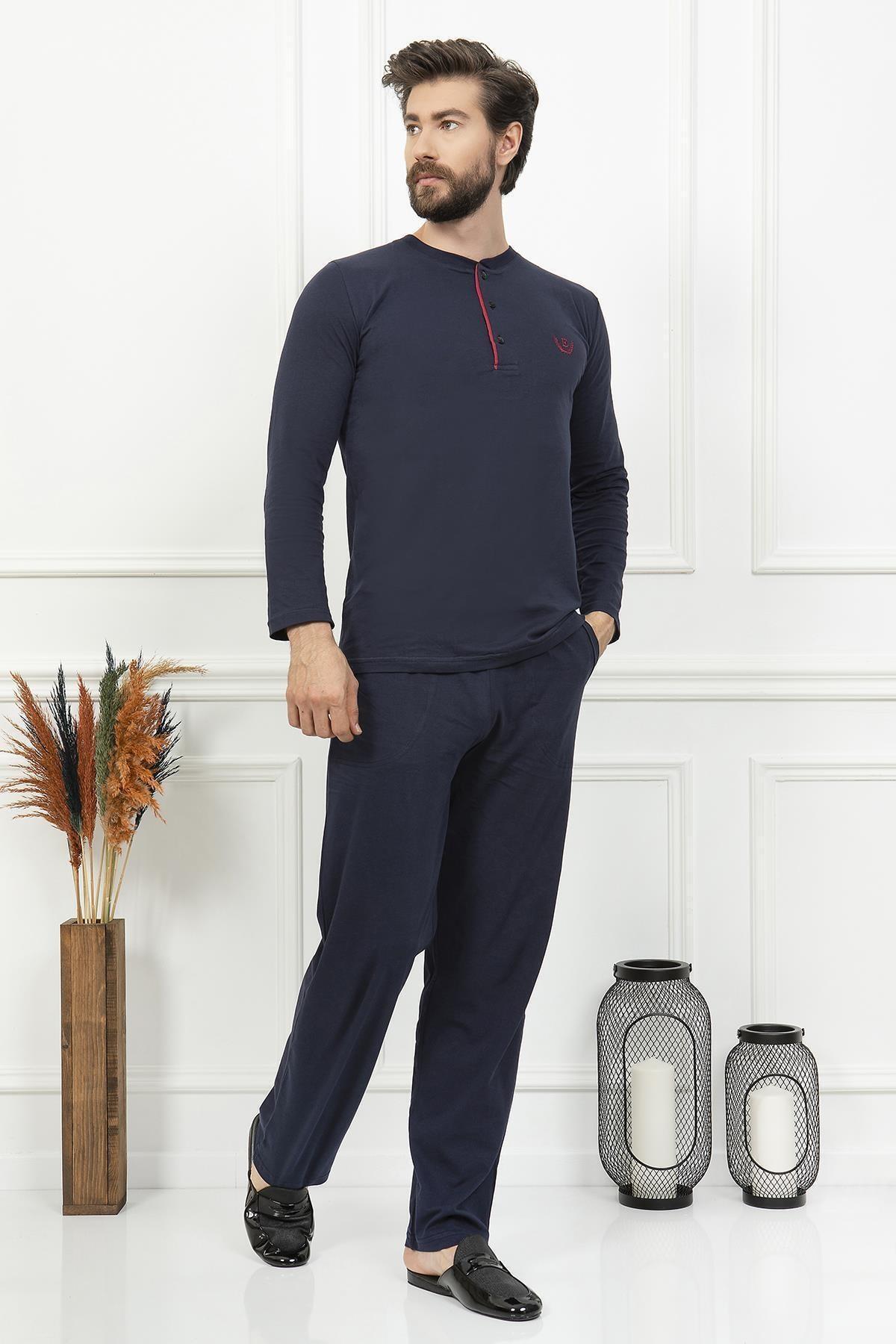 2'li Lüx Lacivert Penye Pijama Takımı